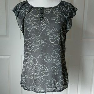 HALOGEN Grey yellow white top size small